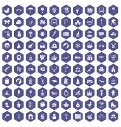 100 happy childhood icons hexagon purple vector image vector image
