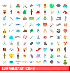 100 military icons set cartoon style vector image