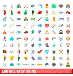 100 military icons set cartoon style vector