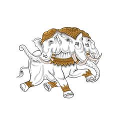 Animal in thai tradition paintingthai tattoo vector
