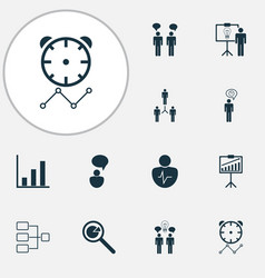 Authority icons set with personality traits vector