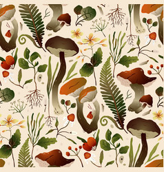 autumn forest mushroom seamless pattern brown vector image