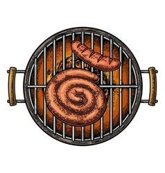 Barbecue grill top view with charcoal and sausage vector