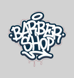 Barber shop tag graffiti style label lettering vector