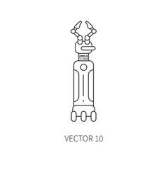 Bionic robot arm prosthesis line icon bionic vector