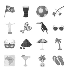 Brazil country set icons in monochrome style Big vector