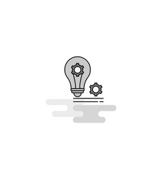 bulb with gear web icon flat line filled gray icon vector image
