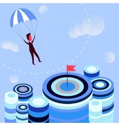 Businessman flying parachute to the aim vector image