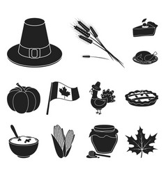 Canada thanksgiving day black icons in set vector