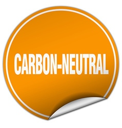 Carbon-neutral round orange sticker isolated on vector