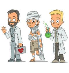 Cartoon doctor patient scientist characters set vector