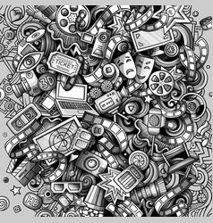 Cartoon doodles cinema movie vector