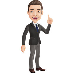 cartoon happy businessman pointing up vector image