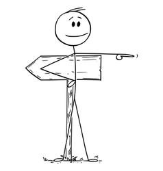 Cartoon man or businessman pointing vector