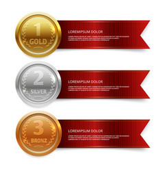 champion gold silver and bronze medails with red vector image