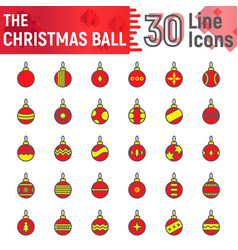 christmas ball filled outline icon set xmas toy vector image