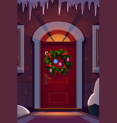 Christmas holiday wreath on home door vector