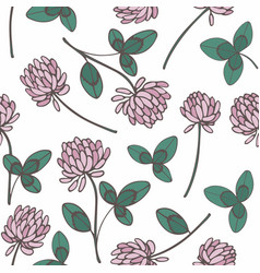 clover hand drawing seamless pattern on a white vector image