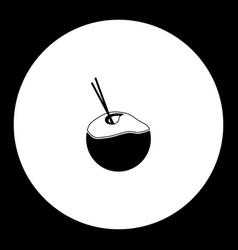 coconut milk drink simple black icon eps10 vector image