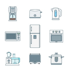 Colored outline various kitchen devices set vector