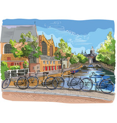 colorful bicycles on bridge over the canals of vector image