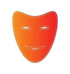 Comedy theatrical masks Orange applique isolated vector image