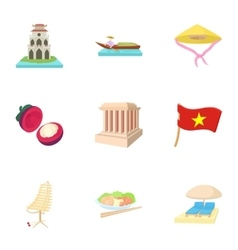 Country Vietnam icons set cartoon style vector