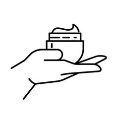 Cream jar on hand palm holding cosmetics product vector