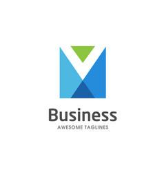 creative letter m square logo vector image