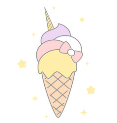 cute cartoon rainbow unicorn ice cream vector image