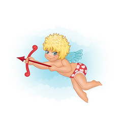 cute cupid on a background clouds vector image