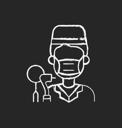 Dentist chalk white icon on black background vector
