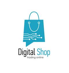 digital shop logo design template vector image