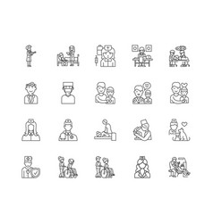 doctor line icons signs set outline vector image