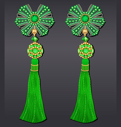 Earrings bows made from beads green emerald vector