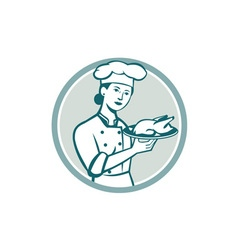 Female Chef Serving Chicken Roast Circle Retro vector