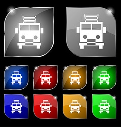 Fire engine icon sign Set of ten colorful buttons vector