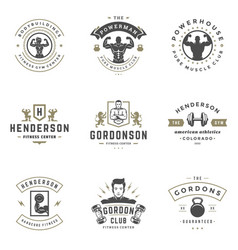 Fitness center and sport gym logos and badges vector