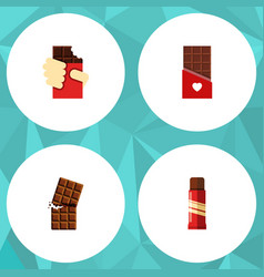 Flat icon cacao set of chocolate shaped box vector