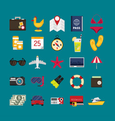 flat icons set traveling planning a summer vector image