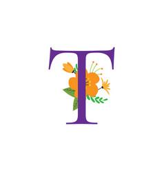 floral alphabet initial design vector image