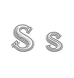 Font tattoo engraving letter S vector