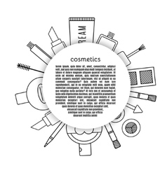 Frame make up and cosmetics set vector image