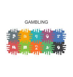Gambling cartoon template with flat elements vector