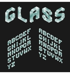 Glass isometric latin alphabet 3d geometric font vector