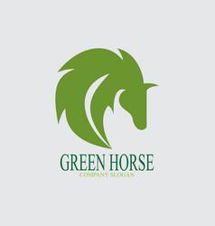 green horse logo vector image