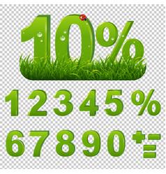 Green percents set with grass transparent vector