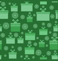 green wrapping christmas seamless paper with boxes vector image