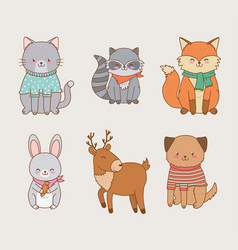 group woodland animals vector image