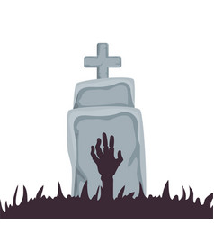 Halloween tomb with hand zombie vector